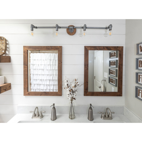 Farmhouse Bathroom Vanity Mirror, 24x31 - Walnut Finish (Set of 2)
