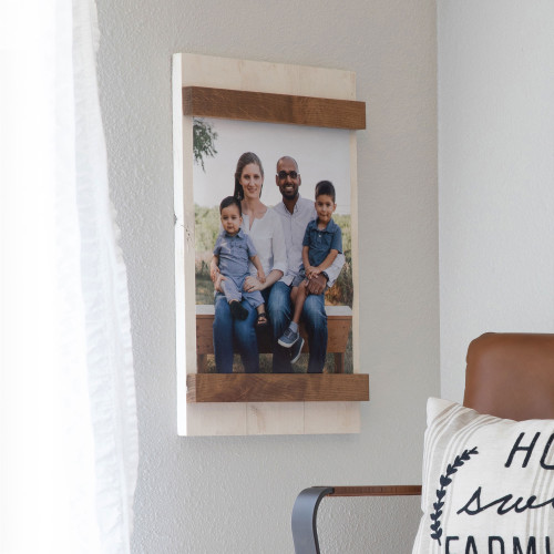 11x14 Farmhouse Easy Swap Picture Frame - Whitewash and Walnut Stain