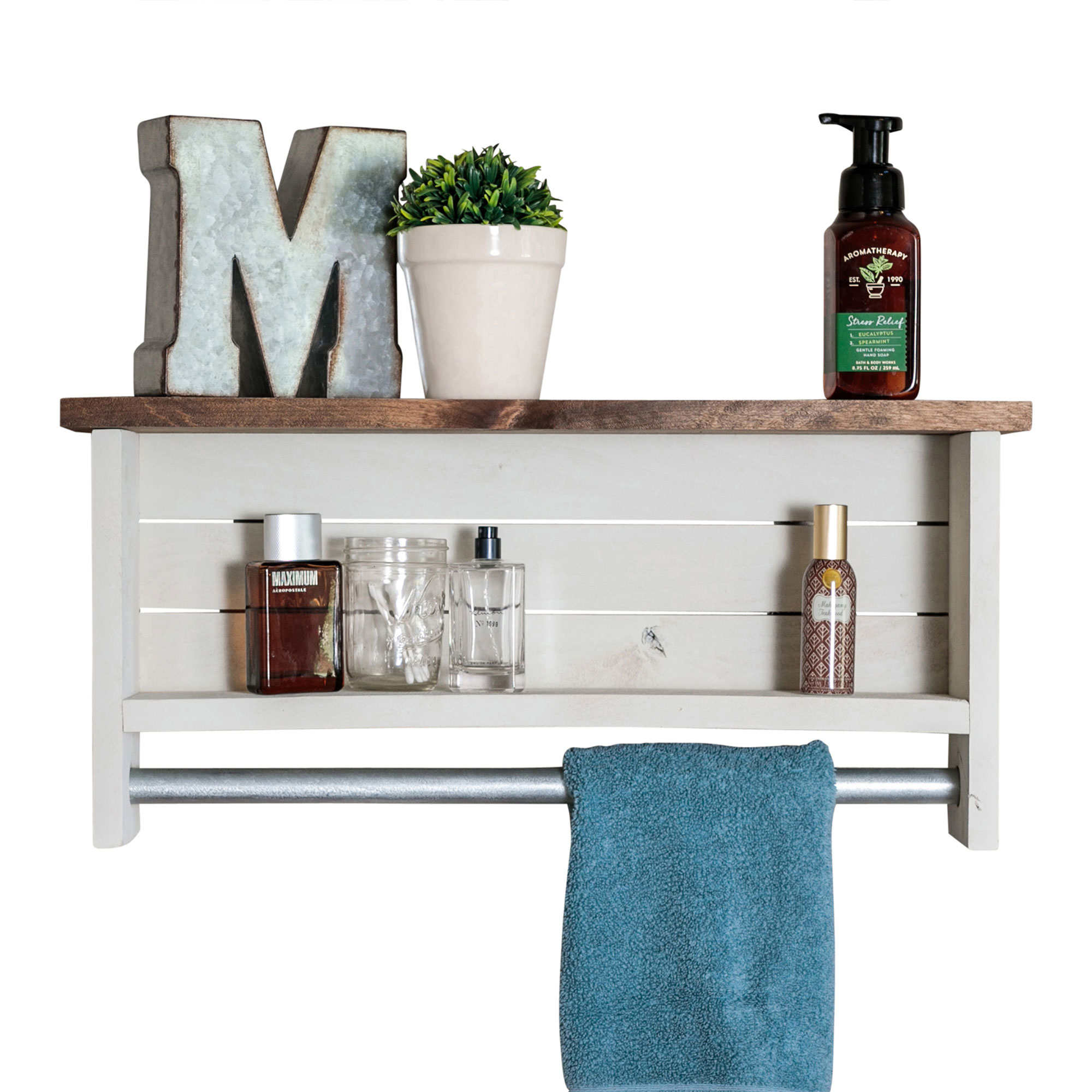 Bathroom Shelf With Towel Bar Whitewash Drakestone Designs