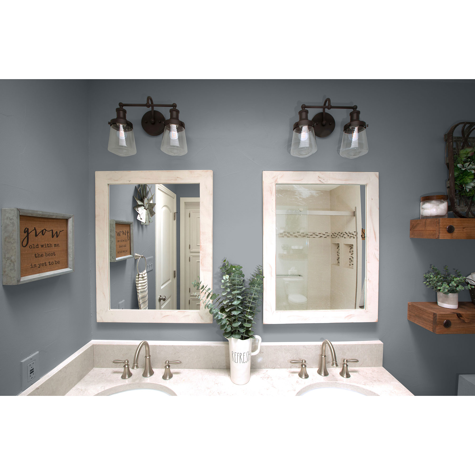 Farmhouse Bathroom Vanity Mirror 24x31 Whitewash Set Of 2 Drakestone Designs