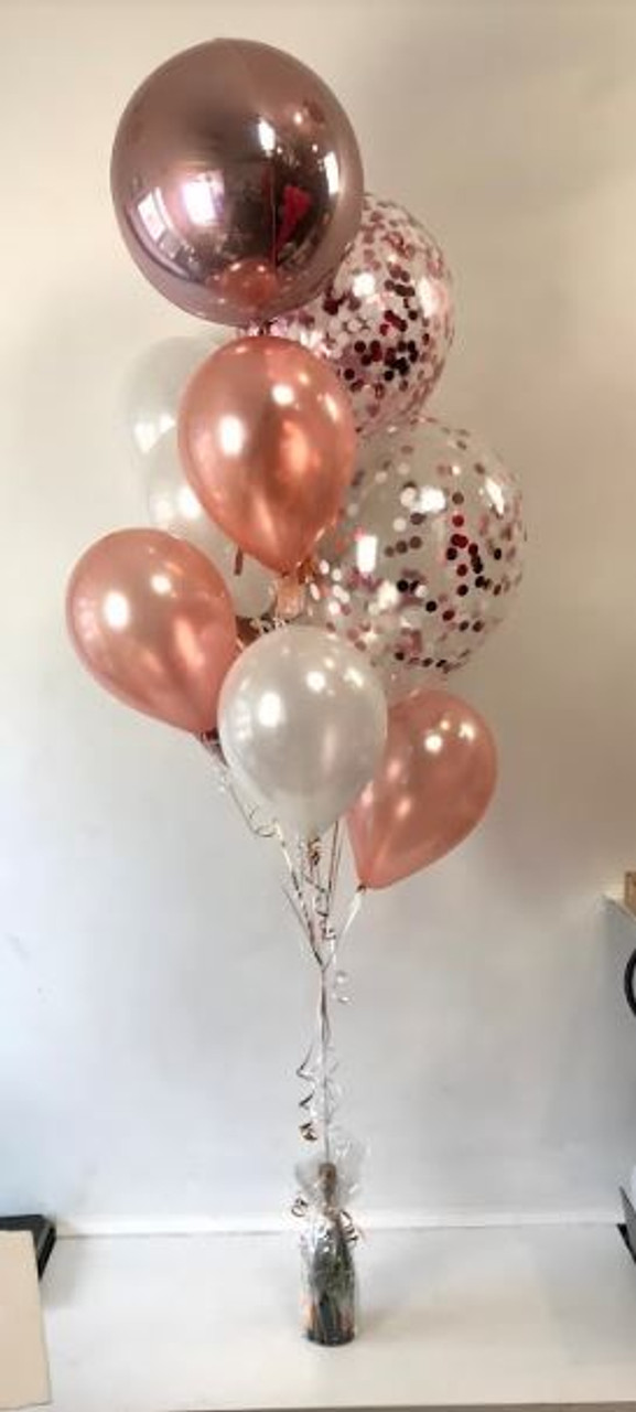 Rose Gold Orbz And Confetti Bouquet Balloon Bouquets Sydney Party Shop