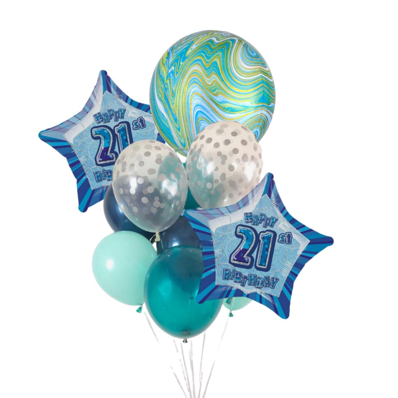 Blue Glitz 21st Birthday Balloon Bouquet