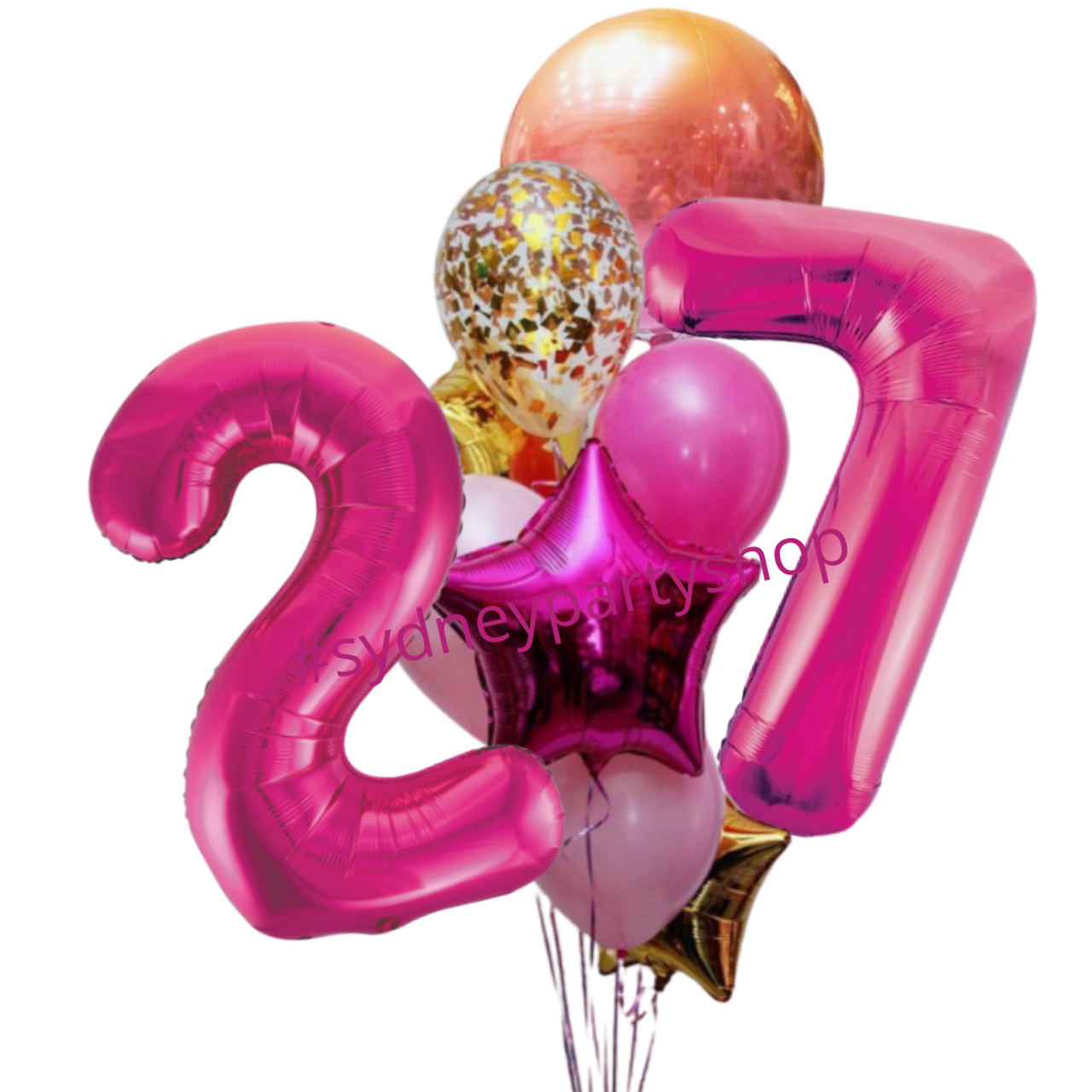 Ombre Gold And Hot Pink Balloon Bouquet