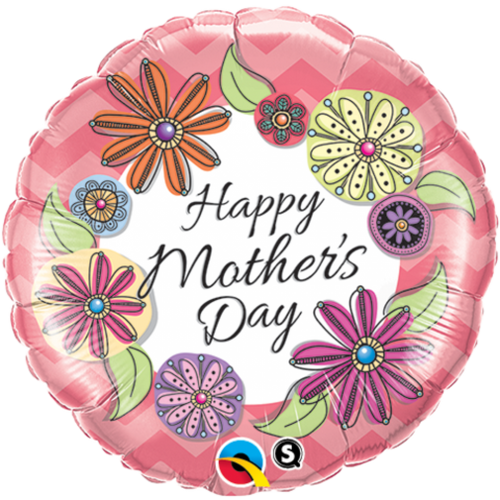 "FOIL 18"" MOTHERS DAY FLORAL CHEVRON"