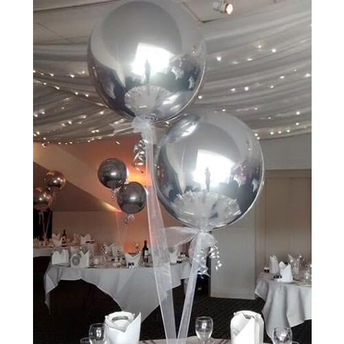 Silver Orbz Balloon Bunch