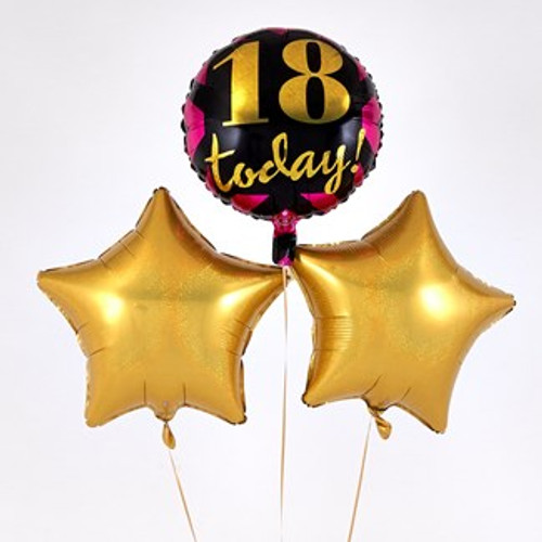 18th Birthday Gold Balloon Bouquet