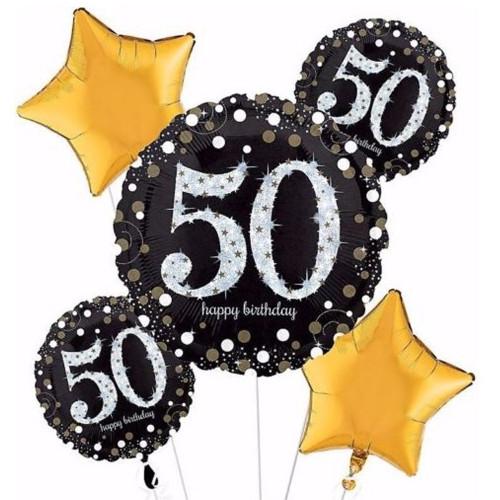 50th Birthday golden Balloon Bouquet