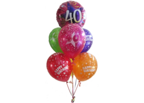 40th Birthday multicolor Balloon Bouquet