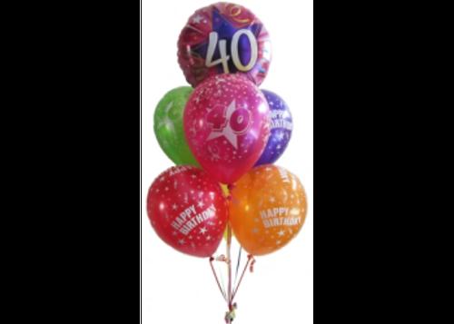40th Birthday multicolor Balloon Bouquet