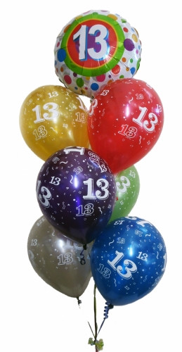 13th Birthday multicolor Balloon Bouquet