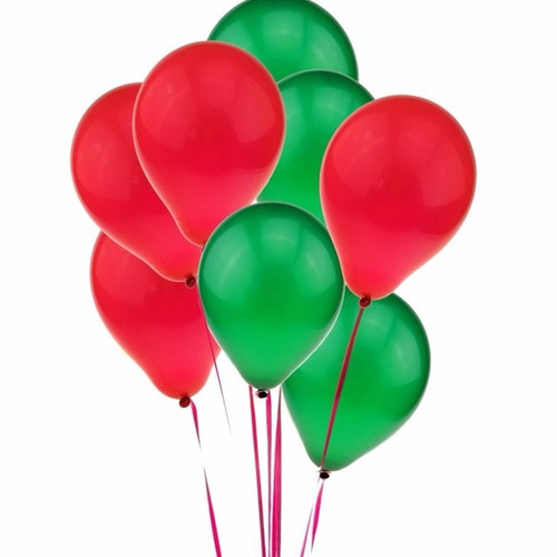 20 Helium loose Balloons Inflated RED & GREEN