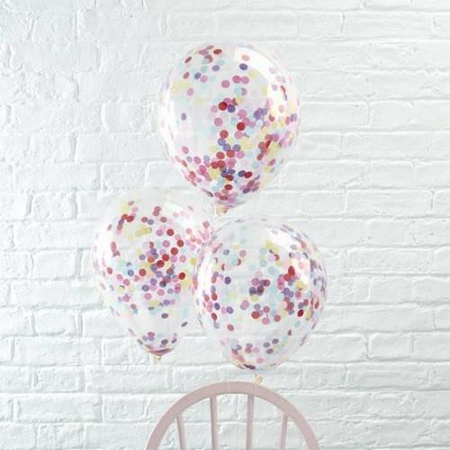 Clear confetti balloon bouquet