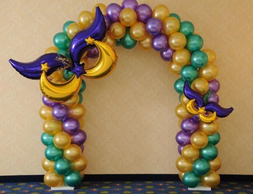 Mardi  gras Balloon Arch 1