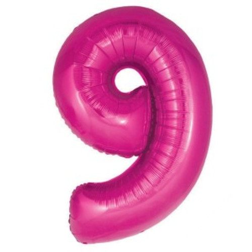 Hot Pink Number 9  Foil 86cm Shape Inflated On Weight