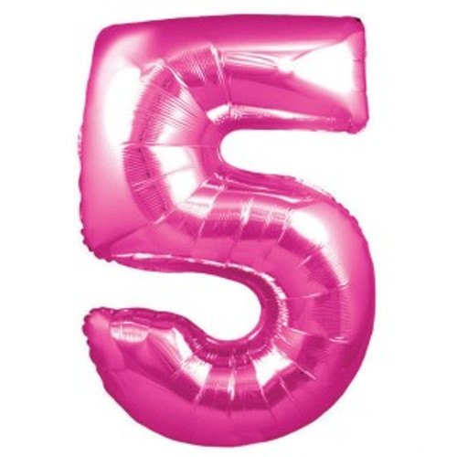 Hot Pink Number 5 Foil 86cm Shape Inflated On Weight