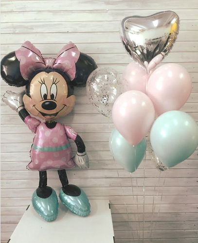 Minnie Mouse Air Walker Balloon and Balloon Bouquet Inflated