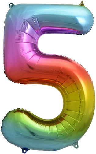 Rainbow Number 5 Five Foil Balloon