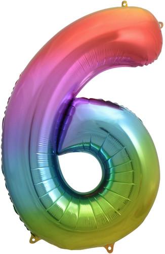 Rainbow Number 6 Six Foil Balloon