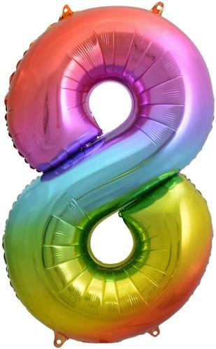 Rainbow Number 8 Eight Foil Balloon