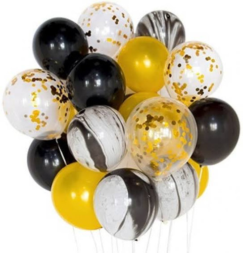 Marble Black and Gold Balloon bouquet