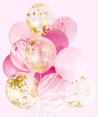 Marble Pink and Confetti Balloon bouquet