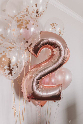 Monochrome Balloon Bouquet with Number