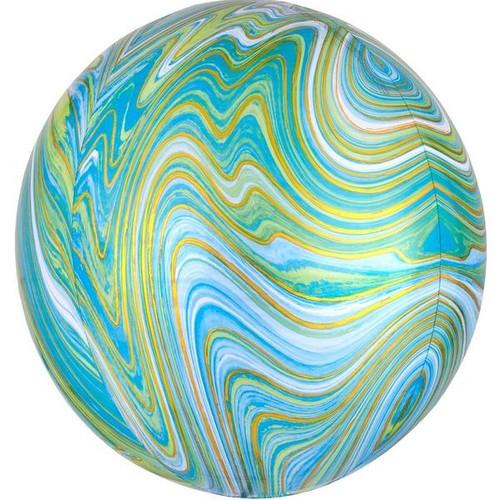 Marble Orb Balloon Blue