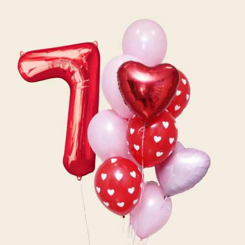 Red hearts balloon bouquet