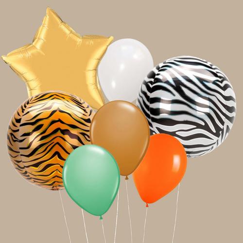 Safari Orbs and foils balloon bouquet