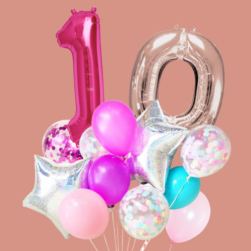 Blushing party balloon bouquet