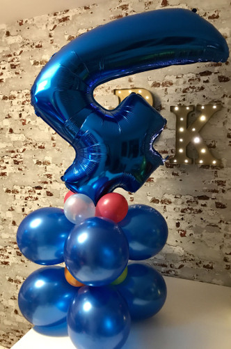 Blue Gift balloon bouquet with Number