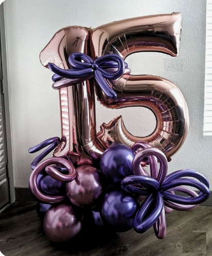Purple and rose gold gift balloon bouquet with numbers