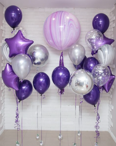 Purple and Silver sparkling balloon bundle
