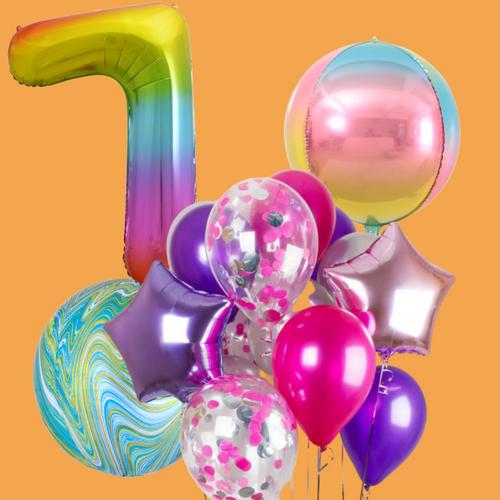 Rainbow and orbz balloon bouquet