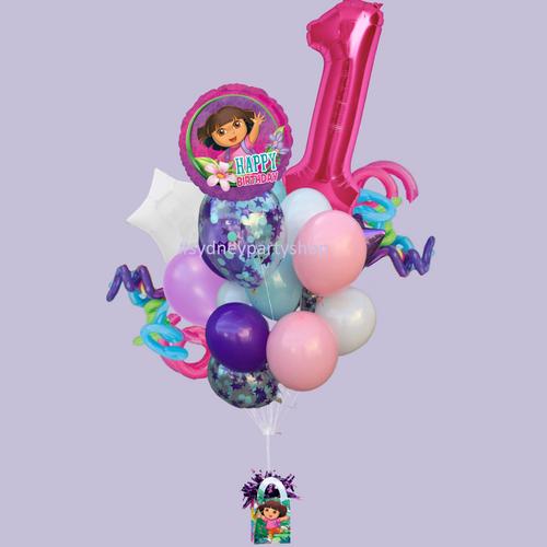 Dora themed gift birthday balloon bouquet