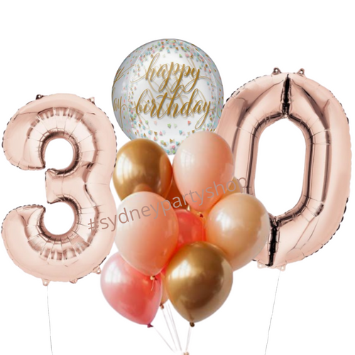Rose gold Happy birthday balloon bundle