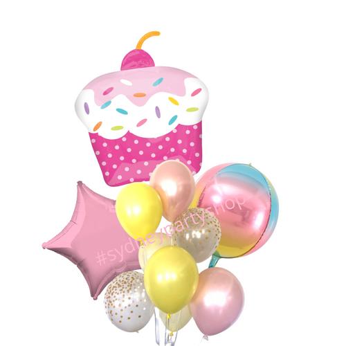 Cupcake & orbz balloon bouquet