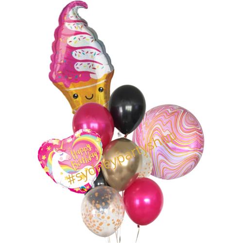 Ice cream hot pink balloon bouquet