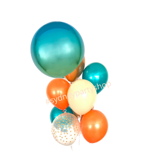 Blue ombre and orange balloon bouquet