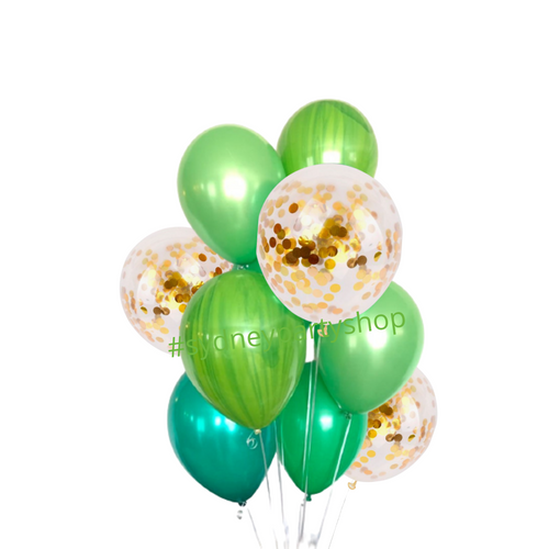 Green and gold balloon bouquet