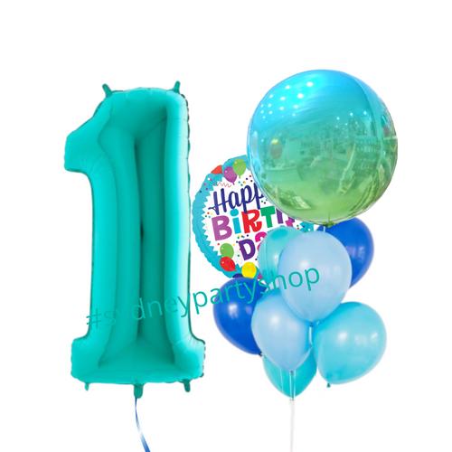 Happy birthday bright blue balloon bundle