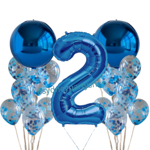Royal blue balloons with number  bundle