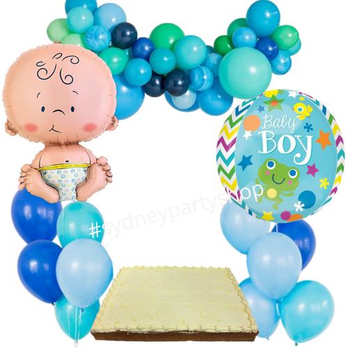 It's a boy balloon and cake set