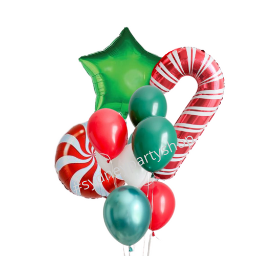 Candy cane and swirl balloon bouquet