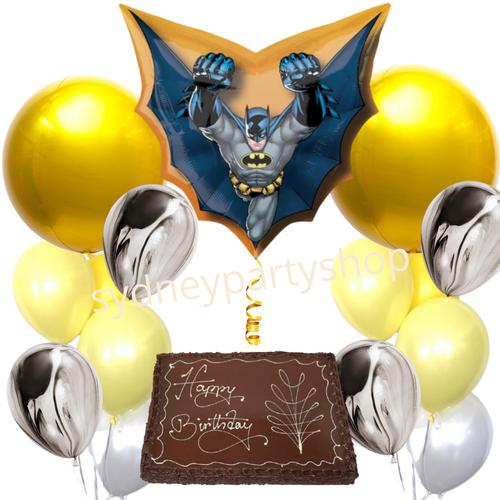 Batman themed balloons and cake bundle