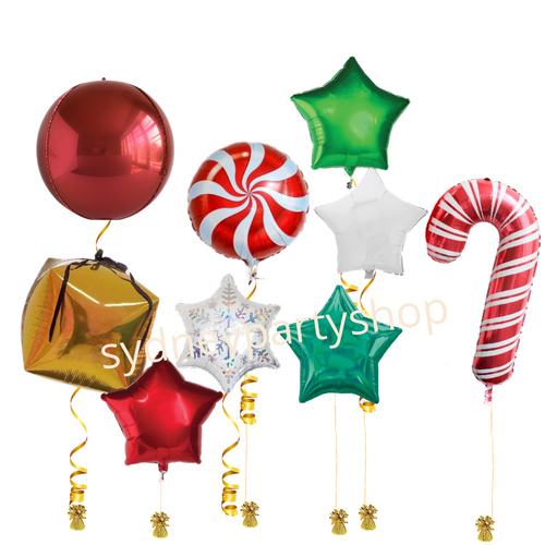 Christmas balloons on weight set