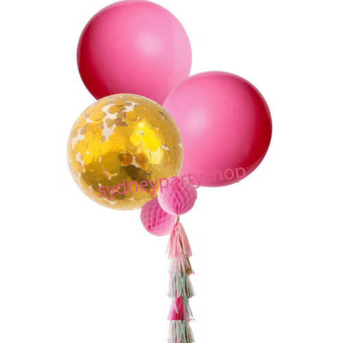 Pink and Gold jumbo tassel balloon bouquet