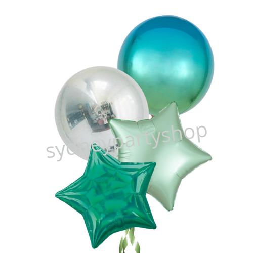 Light blue orbz balloon bouquet