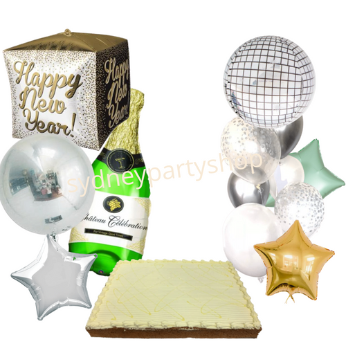 New Year balloon bouquet and cake bundle