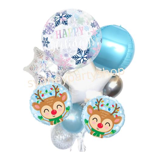White Christmas balloon bouquet